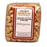 Bergin Nut Company Cashew Whole, Roasted Salted, 16-Ounce Bags (Pack of 2)