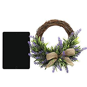 TRRAPLE Artificial Flower Decoration Wreath, 1 Pcs Simulation Lavender Wreath, Artificial Christmas Fake Flower Decoration Garland with Bow-Knot Ornament for Front Door Wall Mirror Window 4