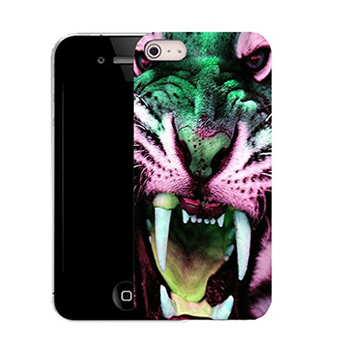 Mobile Case Mate IPhone 4 clip on Silicone Coque couverture case cover Pare-chocs + STYLET - pink tiger tooth 2 pattern (SILICON)