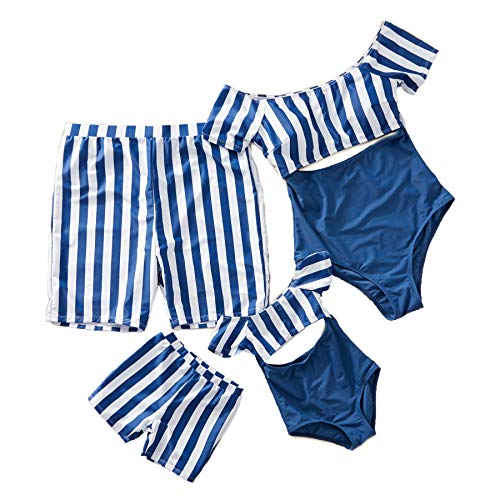 Yaffi Family Matching Swimwear One Piece Bathing Suit Striped Hollow Out Monokini Mommy and Me Beachwear Women: L Blue (Couple Swim Suit)