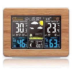Color Digital Clock Temperature Humidity Sensor Barometer Forecast Desk Table Alarm Clock,Wood