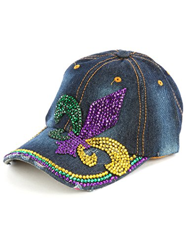Mardi Gras Baseball (Bling Fleur De Lis Mardi Gras Blue Jean Denim Hat Purple)