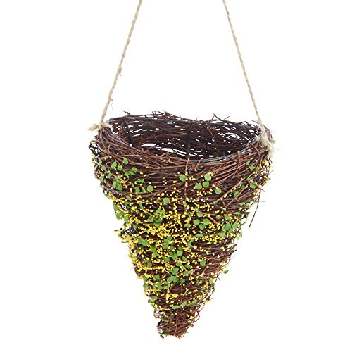 Factory Direct Craft Pair of 2 Grapevine Wrapped Wire Cone Shaped Hanging Baskets with Faux Moss ()