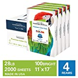 Hammermill Premium Color Copy 28lb Paper, 11x17, 4 Ream Case, 2000 Sheets, Made in USA, Sustainably Sourced From American Family Tree Farms, 100 Bright, Acid Free, Color Copy Printer Paper,102541C
