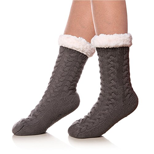 SDBING Women's Winter Super Soft Warm Cozy Fuzzy Fleece-lined Christmas Gift With Grippers Slipper Socks (Gray A) (Fleece Sock)