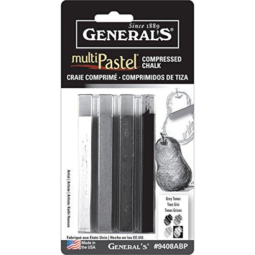 General Pencil Multi Pastel Compressed Chalk Sticks 4/Pkg-Grey Tones