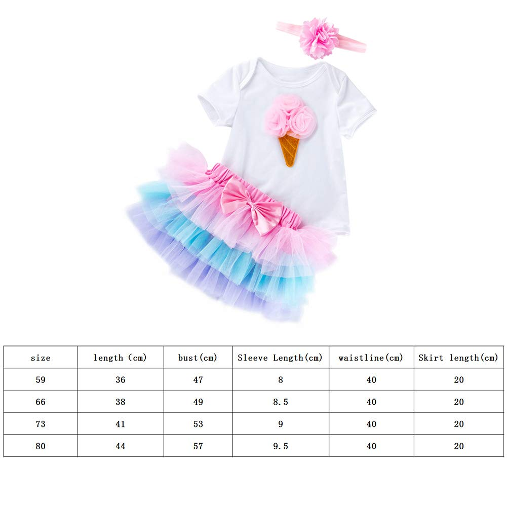 Baby Girl Rose Ice Cream Short Sleeves Jumpsuit Tutu Skirt Sunsuit Outfit with Headband Playwear Outfit XL 3Pcs