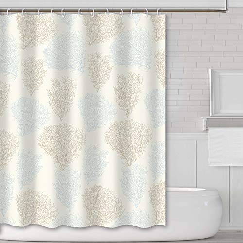 Tititex Cream Color Coral Grass Shower Curtains Unique Design Light Blue Pattern Bathroom Decoration Polyester Fabric Durable Waterproof Shower Curtain 69 X 70 Inch with -