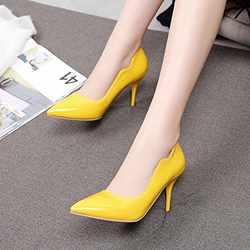 Sexy Carolbar Heel Toe Shoes High Stiletto Women's Yellow Dress Elegant Pointed qPRPgU