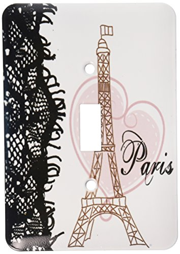 3dRose lsp_162268_1  Paris Eiffel Tower with Heart and Black
