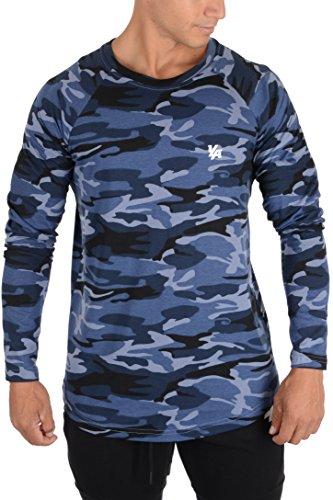 (YoungLA Mens Elongated Long Sleeve T Shirt Raglan Baseball Jersey Tee 419 Camo Blue X-Large)