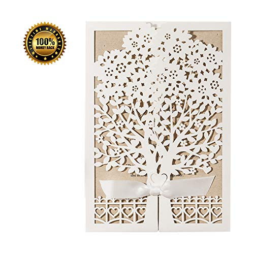 Wedding Invitations Cards Kits Ivory with Ribbon Floral Lace, 50pcs Rustic Laser Cut Invites Cardstock with Envelope for Bridal Shower, Engagement, Baby Shower, Quinceanera Bachelorette Party Birthday -