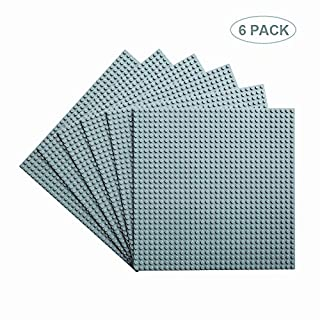 """Allvinda Classic Baseplates Building Base Plates for Building Bricks 100% Compatible with Major Brands-Baseplates 10"""" x 10"""", 6 Pack Gray"""