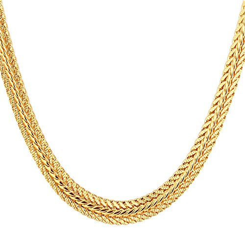 U7 Men Chain 18K Stamp Fashion Jewelry Foxtail Chain 6MM Wide Gold Plated Necklace, Length 32 inch