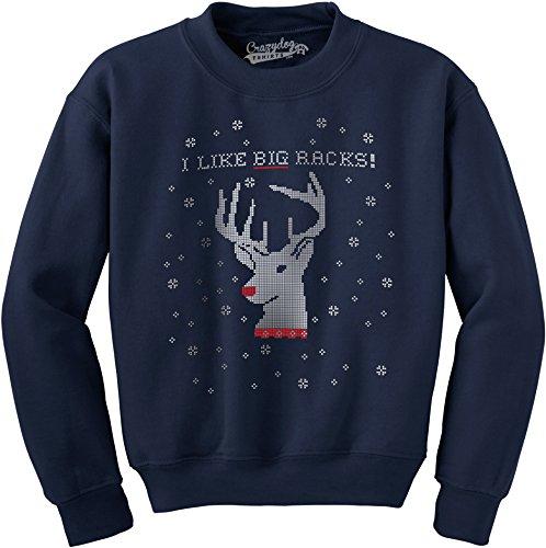 Crazy Dog Tshirts I Like Big Racks Funny Unisex Ugly Christmas Holiday Crew Neck Sweatshirt (Navy) M