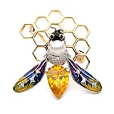 WULI & BABY Copper Crystal Bee Insects Brooch Pins Banquet Party Brooches