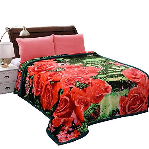 JML Heavy Thick Plush Velvet Korean Style Mink Blanket, 2 Ply Reversible Raschel Blanket with Embossed, King, Green Floral