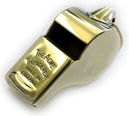 Acme Thunderer (Referee's) Whistle (58) with Square Mouthpiece - Polished Brass by The Acme