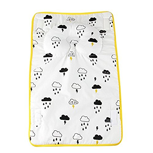 KAKIBLIN Portable 2-in-1 Baby Changing Mat Diaper Pad with Anti-Flat Head and Neck Support Pillow Yellow HUIBAO