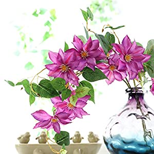 MUFEN Silk Clematis Stem Sprays Outdoor Artificial Flowers for Wreaths Corsages Home Wedding Table Room Decor 6