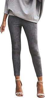 Yying Mesdames Pantalons Taille Haute élastiques Slim Fit Pantalon à Fermeture éclair Petits Pieds PantalonsP de Loisirs Décontractés Vêtements de Travail S-XL