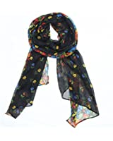 Kobwa(TM) Fashion Soft Paris Yarn With Flower Pattern Long Muffler Shawl Scarf Wraps +Kobwa's Keyring