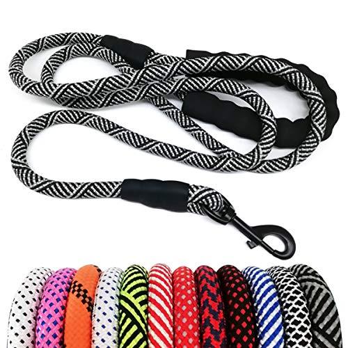 MayPaw Heavy Duty Rope Dog Leash 6Ft, 1/2' Thick Nylon Pet Training Leash, Soft Padded Handle Lead Leash for Large Medium Dogs