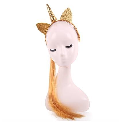 Trenzas de peluca unicornio pelo banda 2017 nueva fiesta de cumpleaños maquillaje vestido de novia pelo