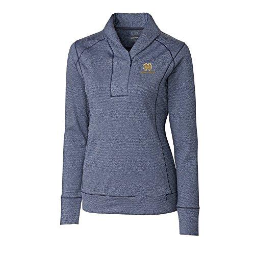 Cutter & Buck NCAA Notre Dame Fighting Irish Women's Shoreline Half Zip Jacket, 3X-Large, Liberty Navy Heather