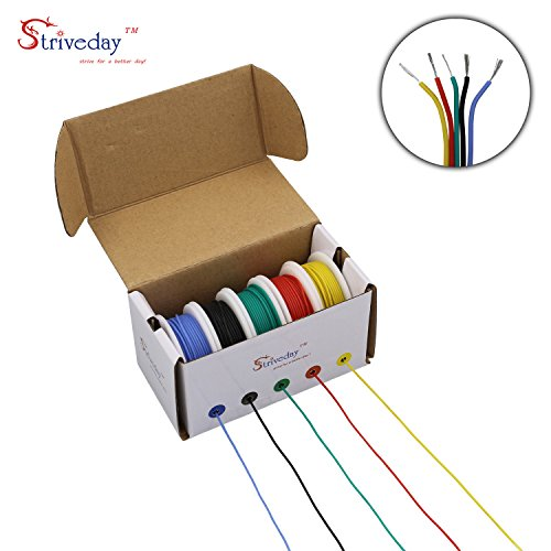 Striveday™Flexible Silicone Wire 20awg Electric wire 20 gauge Coper Hook Up Wire 300V Cables electronic stranded wire cable electrics DIY BOX-1 (20 Gauge Stranded Wire)