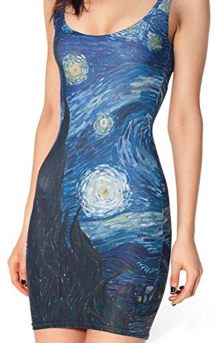 QZUnique Women's Nature Printed Stretchy Party Club Sleeveless Bodycon Mini Dress,Van Gogh's,One Size