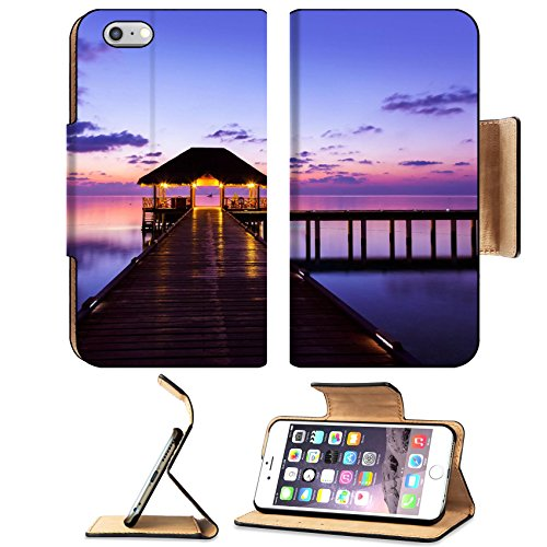 MSD Premium Apple iPhone 6 Plus iPhone 6S Plus Flip Pu Leather Wallet Case Water cafe at sunset Maldives vacation background IMAGE 34656048