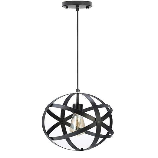 QEQ Vintage Iluminación Colgante de Jaula Hierro Forjado Globe ...