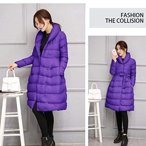 Cintura Manica Violett Tasche Inclusa Invernali Laterali Solidi Abbigliamento Piumini Stile Lunga Moda Parka Outwear Outerwear Donna Modern Colori Pulsante nAxqYwU
