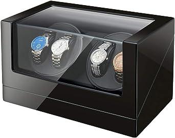 Maselex Caja de Carga automática para 4 Relojes – Caja de Carga para Cuatro Relojes con Motor silencioso Mabuchi y Fuente de alimentación Dual: Amazon.es: Relojes