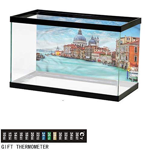 bybyhome Fish Tank Backdrop Italy,Basilica Santa Maria,Aquarium Background,48