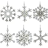 Set of 6 Handmade Snowflake Iron and Glass Pendant Christmas Ornaments, 6 Inches