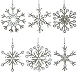 Image of Set of 6 Handmade Snowflake Iron and Glass Pendant Christmas Ornaments, 6 Inches