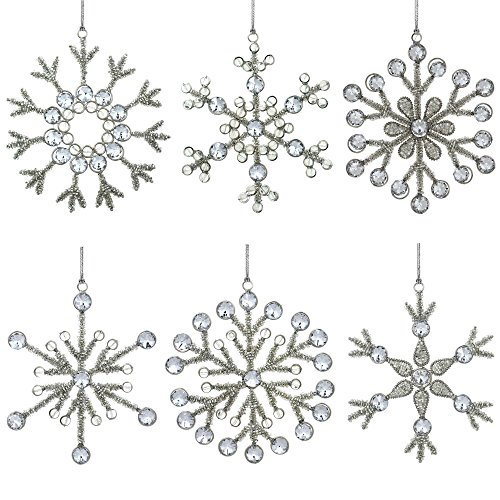 Snowflake Beaded Ornaments (Set of 6 Handmade Snowflake Iron and Glass Pendant Christmas Ornaments, 6 Inches)