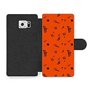 Ice Cream Sunglasses 8 Ball Orange Background Cool Hipster Style Design Faux Leather case for Samsung Galaxy S6