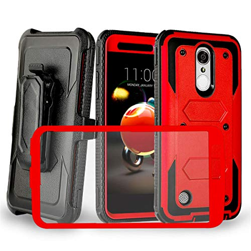 (LG Aristo,Aristo 2 Case/Aristo 2 Plus/Rebel 4/Phoenix 4/Aristo 3/Tribute Empire/Aristo 3+/K8S/Rebel 2 LTE,3 LTE/Tribute Dynasty/phoenix 3/Fortune/Risio 2/K8/Zone 4,Risio 3,Fortune 2/K8+ Holster, Red )