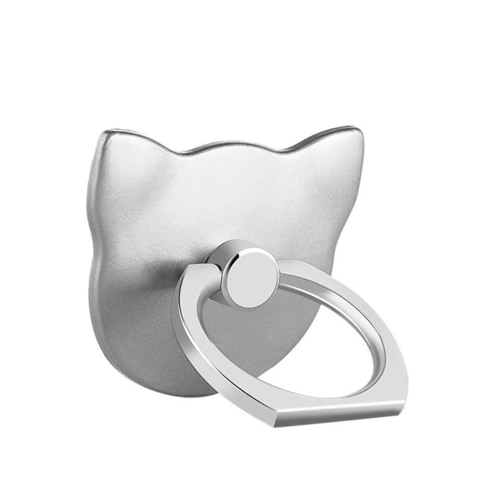 Ring Stand Holder, Creazy 1Pcs Metal Ring Stand Universal Applied Mobile Phone Stand 360 Degree Rotate (Silver)
