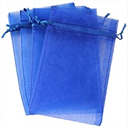 OurWarm 100pcs Organza Bags 4 x 6 Inch Gift Bags Organza Drawstring Pouch Jewelry Party Wedding Favor Candy Bags Royal Blue