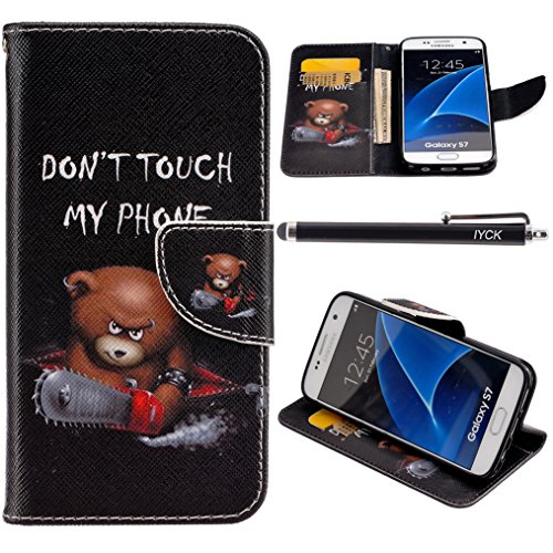 S7 Edge Case, Galaxy S7 Edge Wallet Case, iYCK Premium PU Leather Flip Folio Magnetic Closure Protective Wallet Case Cover for Samsung Galaxy S7 Edge with Kickstand Stand 5.5inch - Electric Saw Bear