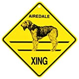 Airedale Xing caution Crossing Sign dog Gift