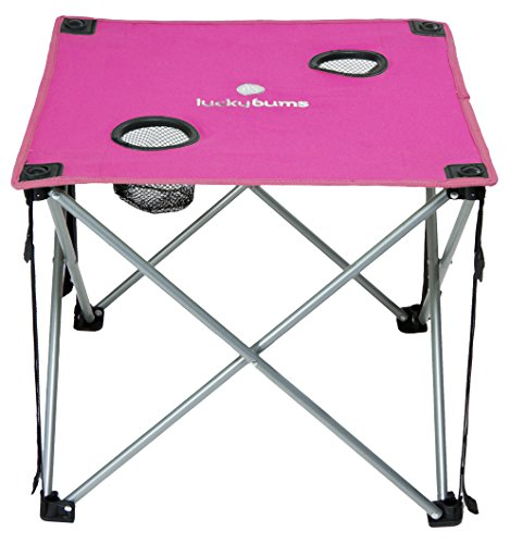 Lucky Bums Quick Camp Table with Cup Holders, Pink