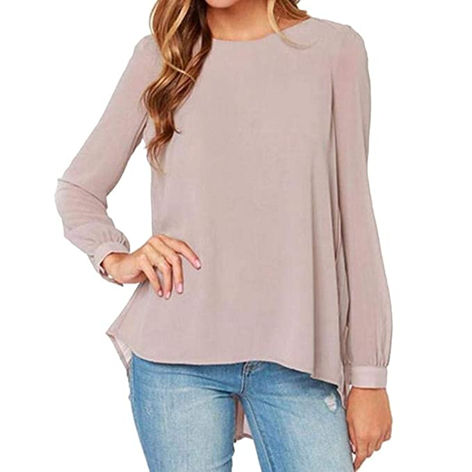 NREALY Blusa Womens Lady Plus Size Vintage Chiffon Soild Long Sleeve Tops Casual Shirt Blouse(