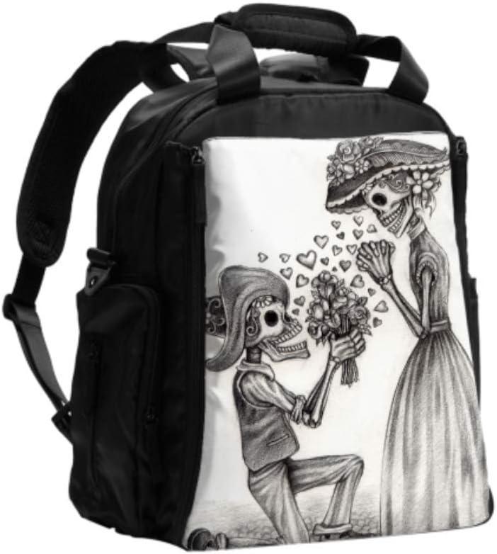 Bolsas de pañales para mamá Resumen Dead Of Day Skull Pareja Boda Bolsa de cambio de color Mochila de viaje multifunción con almohadilla para cambiar pañales para el cuidado del bebé