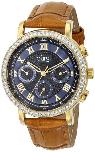 Watch 20 Diamonds Womens (Burgi Women's BUR087BG Analog Display Swiss Quartz Beige Watch)