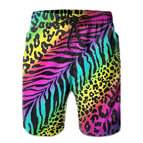 Rainbow Leopard Print - Rainbow Leopard Print Men's Beach Boardshort Summer Casual Swim Shorts with Pockets